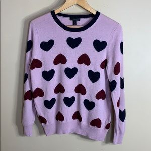 J crew purple v neck sweater with hearts